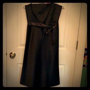 Black satin strapless empire waist dress